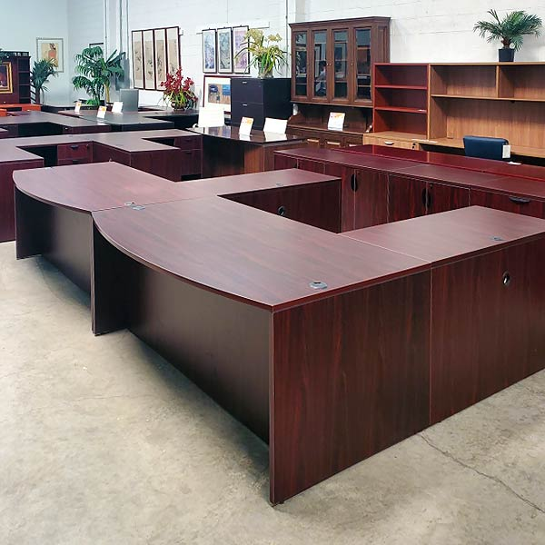 Boss Used L Shape Desk Bow Front